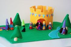 The Golden Round Castle - Wood Felt Playset- Come with everything you see on Etsy, $42.88 AUD