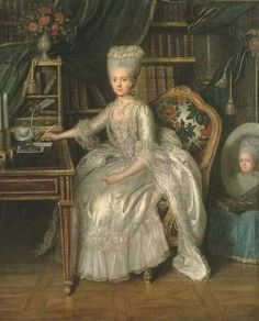 Portrait d'une dame à sa table à écrire, 1776 Lié-Louis Périn-Salbreux