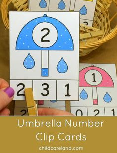 Umbrella Match and Clip Cards for number recognition and fine motor development. Count the raindrops! April Preschool, Preschool Weather, Numbers Preschool, Weather Activities, Spring Activities, Preschool Learning, Kindergarten Math, Preschool Crafts, Teaching