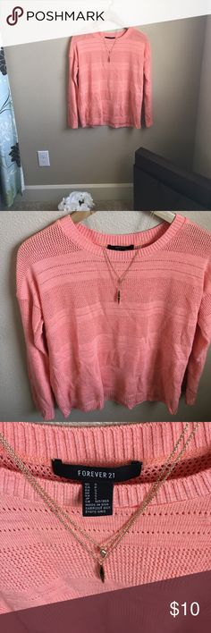 Peach Sweater Perfect condition, just a little wrinkled from being folded up in my closet  Forever 21 Sweaters Crew & Scoop Necks