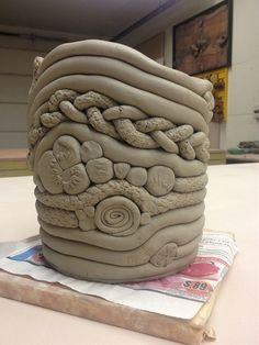 Coil Pot with added texture.. I love the braid! may have to steal this idea.