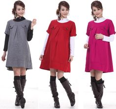 Casual Warm Dresses Maternity Wool Blends Dress Pregnant Women 2015 Spring Autumn Winter Gravida Vestido Clothing Short Sleeve