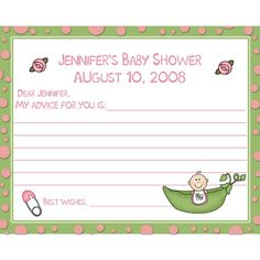 24 Baby Shower Advice Cards - Sweet Pea. $7.00, via Etsy.