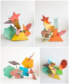 Hello, wonderful - geometric cardboard shape sculptures (with free printable) Cardboard Sculpture, Cardboard Crafts, Paper Crafts, Preschool Art, Craft Activities For Kids, Crafts For Kids, Geometric Shapes Art, Arte Elemental, Shape Art