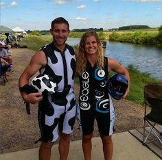 Cody Heller (Open Pro US Jump record holder) and Kamaryn Ehlers (Womens 1 US pending jump record holder) suited up and ready to soar! #barefootcomp #usnationals #barefooting #bluemoo