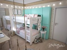 Návrh interiéru bytu Romantika v akcii, pohľad v detskej izbe cez hojdačku Bunk Beds, Toddler Bed, Loft, Furniture, Home Decor, Nostalgia, Child Bed, Decoration Home, Loft Beds
