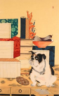The Painting of Dogs with Stationary or Writing Materials and Books.(Kwak Su-Yeon)