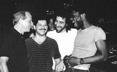 Mel Cheren, unknown guy, Michael DeBenedictus (Peech Boys N.) and Larry Levan. Larry Levan, Paradise Garage, Keith Haring, House Music, Back In The Day, Guys, History, Couple Photos, Celebrities