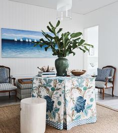 🛳 New Indian Shipment - Just unpacked. Be inspired. These fabulous interiors by feature the beautiful Furniture, Interior, Table Cloth, House Inspo, White Decor, Table, Home Decor, Table Decorations, Blue White Decor
