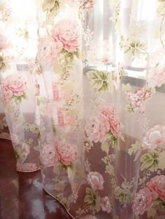 Details about 2 PCS Charming Country Style Pink Flower Sheer Voile Curtain Panel Drape - shabby chic master bedroom -