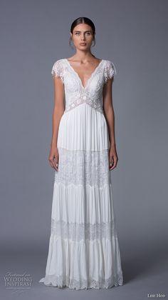 lihi hod 2017 bridal cap sleeves v neck heavily embellished bodice bohemian lace romantic a  line wedding dress v back sweep train (luella) mv