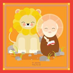 September 30--St. Jerome is the patron saint of archeologists, archivists, Bible scholars, libraries and librarians, students and translators. The story of St. Jerome and his lion is a lovely story- St. Jerome pulled the thorn from his paw and gained a trusty lifelong companion.