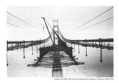 View of the Golden Gate Bridge under construction, c1930s.