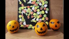 Halloween decoration: cute little pumpkin faces Halloween Crafts, Halloween Decorations, Pumpkin Face, Crafts For Kids, Autumn, Small Pumpkins, Crafting, Faces, Wood Carvings