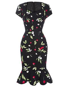 """Brand New 2016 Vintage Retro Floral Print Party Dresses Size 14. Material:: 96%Cotton+4%Spandex. Little Elastic,Bodycon. Cap Shoulder, Zipper at Back,Fishtail Design. Occasion: Cocktail,Prom party,Wedding, Church,Banquet,Homecoming,Work,Casual,. Please Use The Size Chart Image on the Left. Do not use Amazon's """"Size Chart"""" link."""