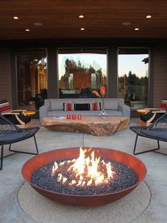 A cozy fire pit is a must to take full advantage of your outdoor living space during the chilly winter months!
