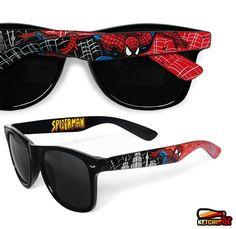 Spiderman Sunglasses - Wayfarer style sunglasses Spiderman comic unique hand painted - red - black