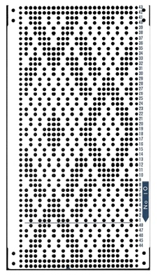 Brother 820 Knitting machine Punchcard number 10   http://www.needlesofsteel.org.uk/