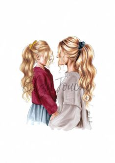 mothers day - mother and daughter - mom and daughter - mothers day gift - girls room - mum and daughter - fashion illustration - mom print Mother And Daughter Drawing, Mother Daughter Pictures, Mother Daughter Quotes, Mom Daughter, Mother Daughters, Mother Son, Mother Quotes, Girly Drawings, Couple Art