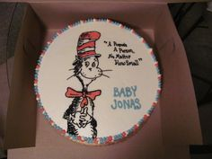 Cat in the hat cake (hand drawn/all butter cream) Dr. Seuss