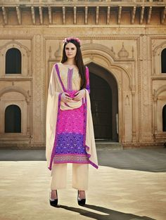 Rani Colour Cotton Silk Brasso Party Wear Salwar Kameez with Best Price & Best Quality,Cash on Delivery. Salwar Suits, Salwar Kameez, Designer Suits Online, Cotton Silk, Party Wear, Floral Design, How To Make, How To Wear, Sari