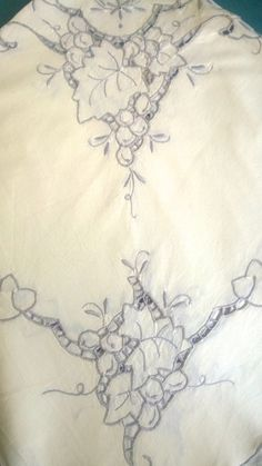Square embroidered tablecloth - Vintage Linen:  Antique Cream by TheBusyTipsyGipsy on Etsy