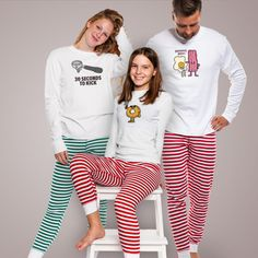 The holiday season is right around the corner. Let the Christmas cheer commence with matching family pjs that are perfect for the whole family. In a special striped holiday print, you will be dreaming of candy canes while wearing these!