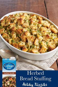 Take the guess work out of Thanksgiving recipes this year and let us help with a flavorful, delicious dish. Our Herbed Bread Stuffing recipe features College Inn® Turkey Broth, fresh sage, thyme, and parsley – flavors that everyone looks forward to this t Holiday Recipes, Dinner Recipes, Christmas Desserts, Christmas Holidays, Stuffing Recipes, Homemade Stuffing, Thanksgiving Menu, Thanksgiving Cocktails, Thanksgiving Stuffing