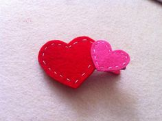 DIY Valentine : Double Puffy Heart Felt Hair Clippie - Red and Hot Pink Felt Hearts Hair Bow - Valentine's Day or every day hair clip