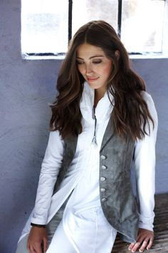 Suede Waistcoat - long and elegant- fitted- longer at the back- 3 buttons mid back Anna, Tweed, Fashion Outfits, Clothes For Women, Elegant, Collection, Style, Design, Pictures