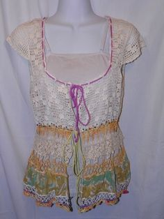 Women's Knitted Sweater Free People Boho Hippie Cap Sleeve Anthropologie #FreePeople #Cardigan