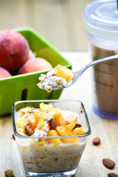 Peach Pie Overnight Oats from What The Fork Food Blog Healthy, delicious and a hearty way to start your day!