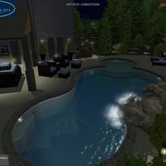 Pool Design by Wise Pool & Spa - 3d Pool, Swimming Pools Backyard, Pool Spa, Swimming Pool Designs, Pool Service, In Ground Pools, Pool Ideas, Design Projects, Outdoor Decor