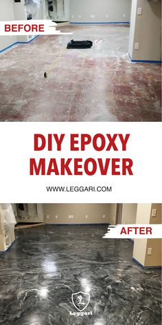 Before and After Pictures using Leggari Products DIY Epoxy Makeover. Purchase your Epoxy floor kit t Epoxy Floor Diy, Epoxy Floor Basement, Metallic Epoxy Floor, Diy Epoxy, Garage Boden, Home Design, Design Room, Floor Design, Interior Design