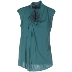 Manila Grace Top ($100) ❤ liked on Polyvore featuring tops, deep jade, blue sleeveless top, sleeveless tops, v-neck tops, manila grace and stretchy tops