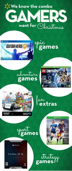 Here's a winning strategy to shopping for your gamer this Christmas. Create the perfect present combo with our gift guide. Shopping for a new video game console? Get the newest Wii U Bundle. Take it to the next level with some accessories. Stuff their stocking with the latest games like Halo 5 and FIFA '16. Put Guitar Hero Live & a Lego Dimensions Starter Pack under the tree and you'll get the gift-giving high score. Walmart makes holiday shopping easy with one stop for everybody on your…