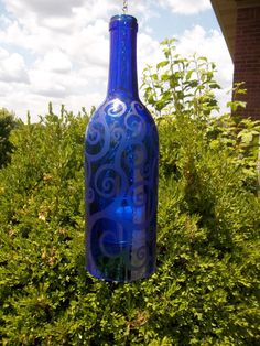 Recycled/ repurposed cobalt blue wine bottle by Blumoonstudio, $15.00