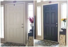 More Painted Interior Doors | Before and After - Decorchick! Looove the black and white entry.  My black front door needs another coat of paint anyway, so maybe I'll paint the interior black at the same time.  Love the rug, too!