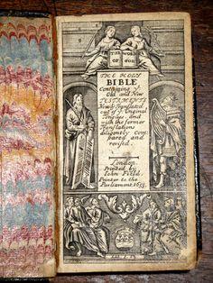 Holy Bible 1653 Leather Fine Binding English Decorative Antique John Field RARE   eBay
