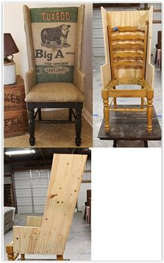 This Chair upcycle is AMAZING but sadly the blogger no longer has a tutorial, or a blog available, so you will have to use your imagination of how to takethis old chair to this upholstered chair. But WOW.