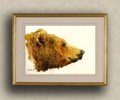 """PRINT-Grizzly bear head portrait  print watercolor painting art wall bear brown animal forest american 8x11"""" Art Print by Juan Bosco by SanMartinArtsCrafts on Etsy https://www.etsy.com/listing/191599044/print-grizzly-bear-head-portrait-print"""