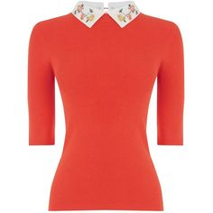 Oasis Embroidered Rib Collar Knit ($57) ❤ liked on Polyvore featuring tops, sweaters, orange, women, embellished tops, knit tops, red knit top, red sweater and orange knit sweater
