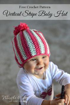Free Crochet Pattern - Vertical Stripe Baby Hat | Super cozy slouchy hat for…