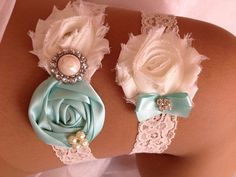 SALE - Aqua Blue Wedding Garter Set-Blue and Ivory Garter Set Rhinestone Detail... on Etsy, $23.95