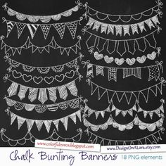 Chalk Bunting Banners Chalk Banners Clip Art Digital Banners Hand Drawn Banners Chalk ribbons B Super-Fonts