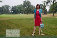 Coral & aqua color blocking: #jcrew dress, #seychelles heels, #coach bag