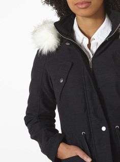 Womens Charcoal Twill Zip Hood Parka coat- Grey