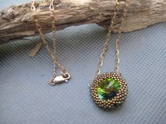 Swarovski Bead Woven Rivoli Crystal Necklace by SleepingCatDesigns, $39.00