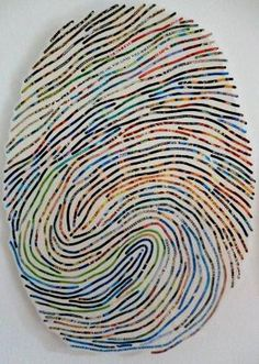 thumbprint art... blow up image of child's thumbprint to use as a guide and overlay with either paint, yarn or pipe-cleaners. Connection with self identity! by Emel