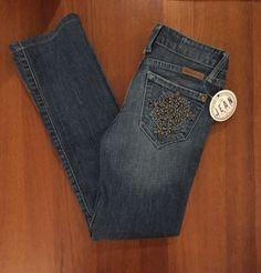 J & COMPANY Womens BEVERLY Straight Leg Stretch Blue Jeans 26 Studded Pocket #JCompany #Beverley